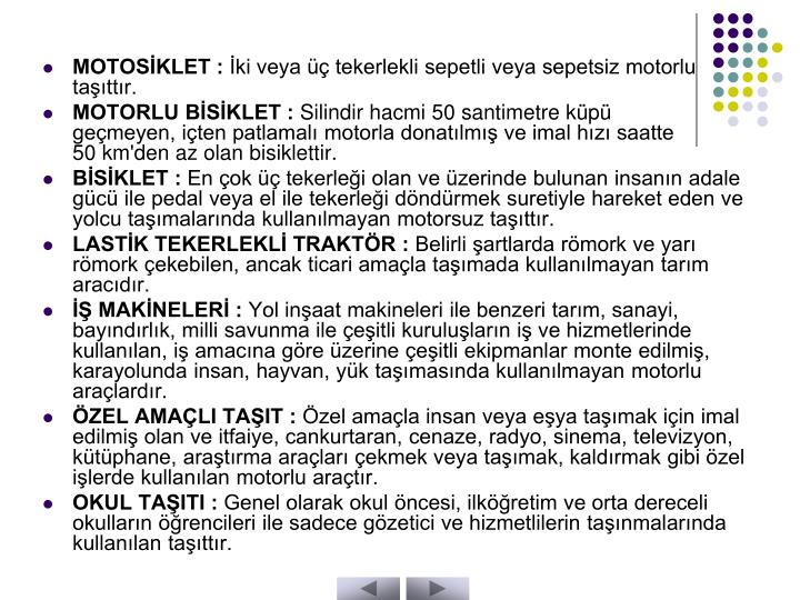 MOTOSİKLET :