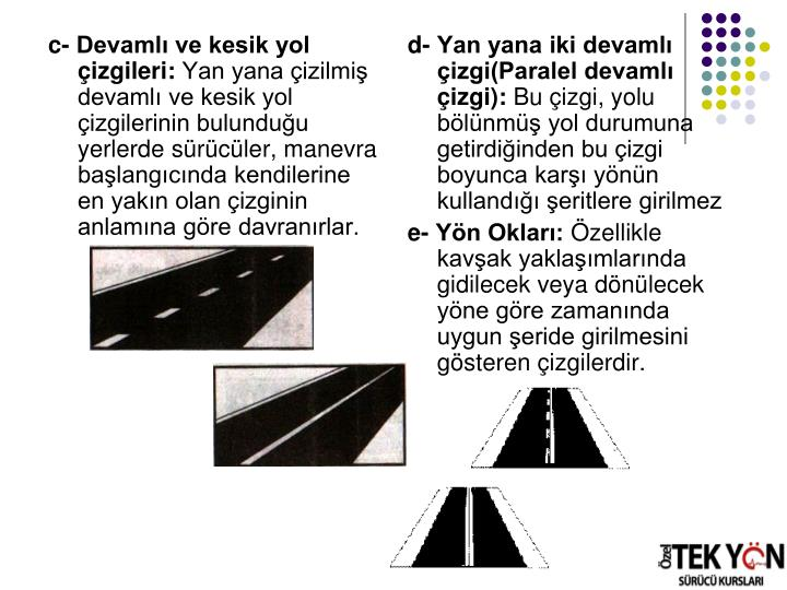 c- Devamlı ve kesik yol çizgileri:
