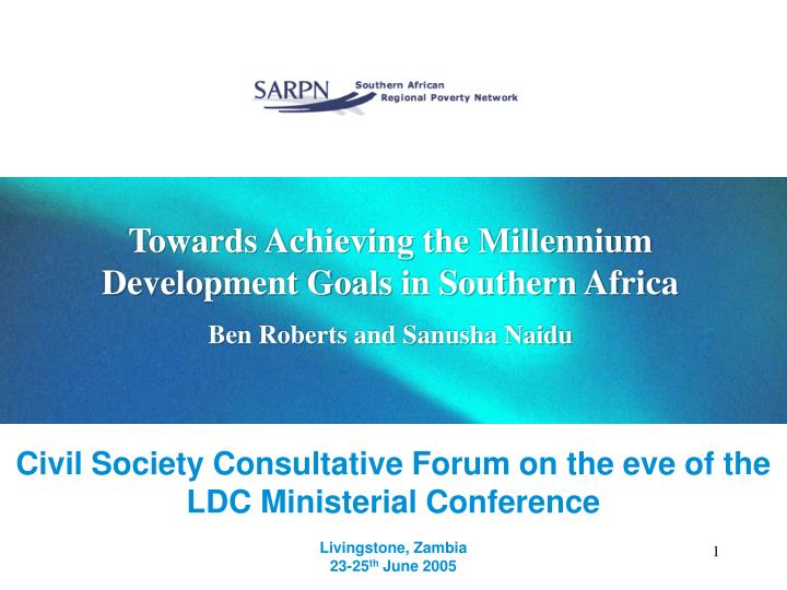 Towards Achieving the Millennium Development Goals in Southern Africa