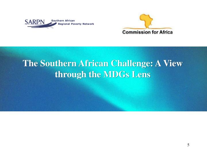 The Southern African Challenge: A View through the MDGs Lens