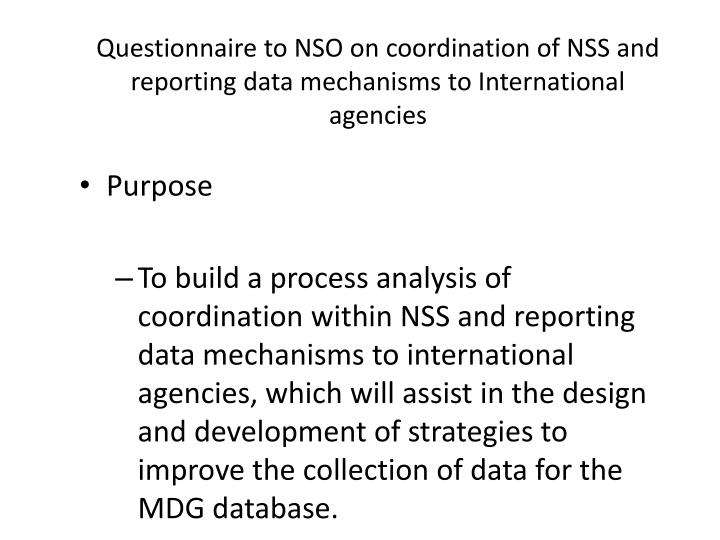 Questionnaire to nso on coordination of nss and reporting data mechanisms to international agencies
