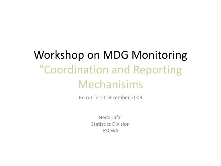 Workshop on mdg monitoring coordination and reporting mechanisims