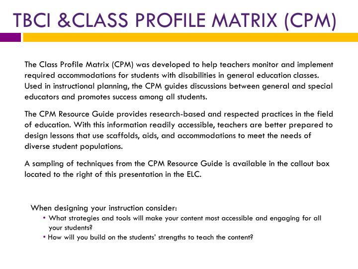 TBCI &CLASS PROFILE MATRIX (CPM)