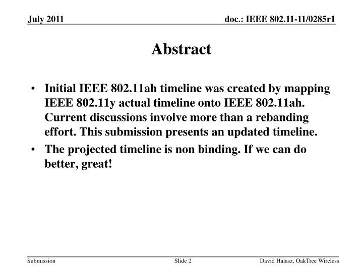Initial IEEE 802.11ah timeline was created by mapping IEEE 802.11y actual timeline onto IEEE 802.11ah. Current discussions involve more than a