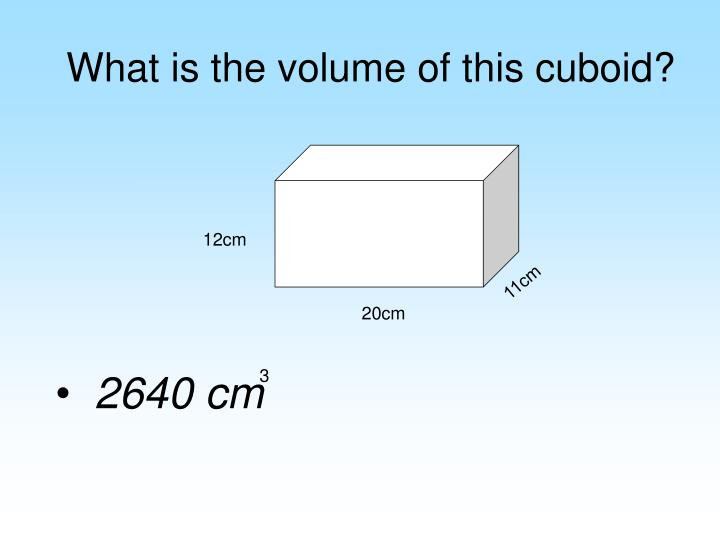 What is the volume of this cuboid?