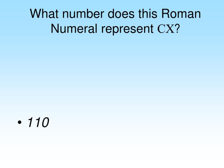 What number does this Roman Numeral represent