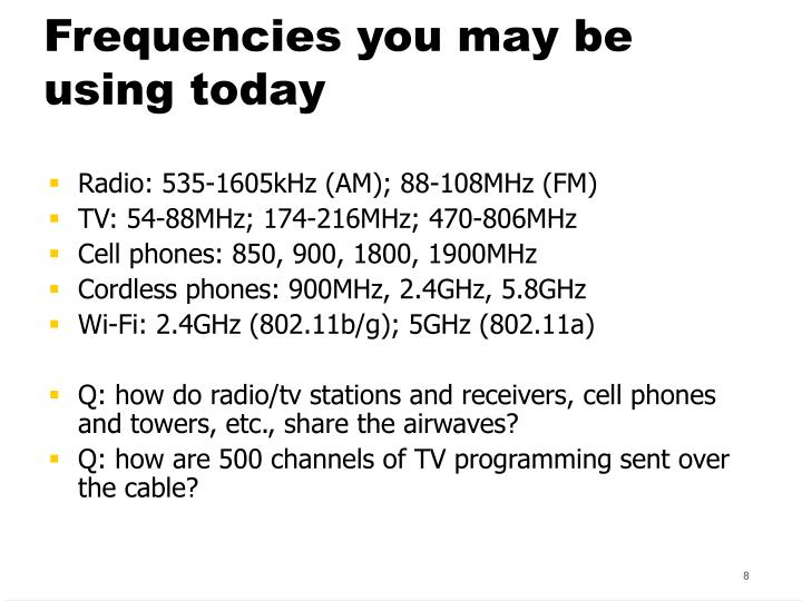 Frequencies you may be using today