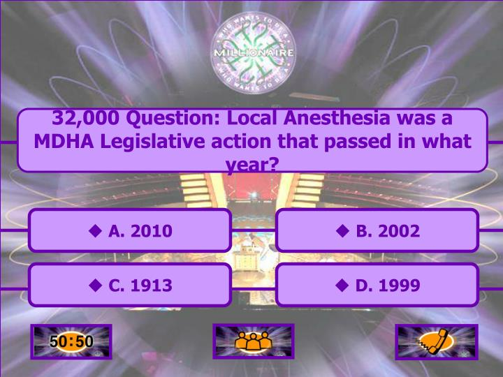 32,000 Question: Local Anesthesia was a MDHA Legislative action that passed in what year?
