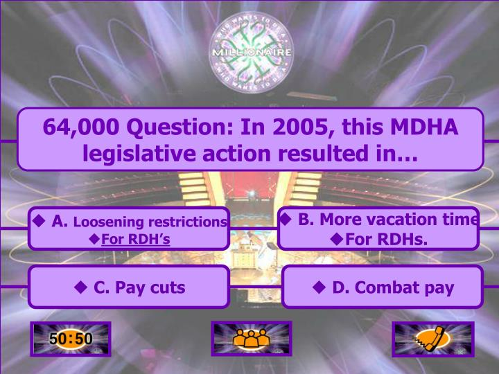 64,000 Question: In 2005, this MDHA legislative action resulted in…