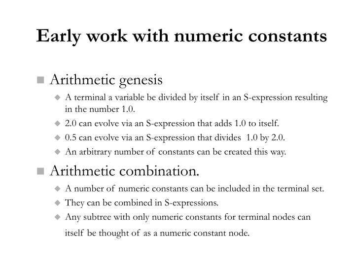 Early work with numeric constants