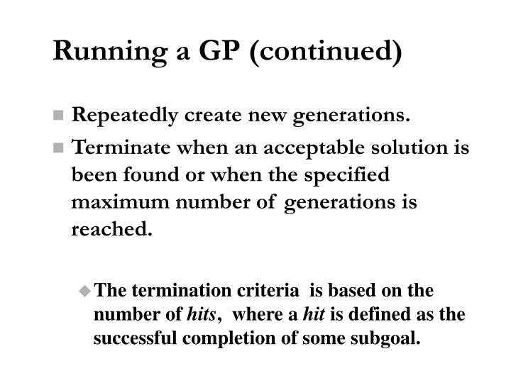 Running a GP (continued)