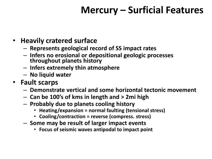 Mercury – Surficial Features