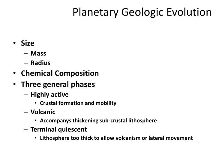 Planetary Geologic Evolution