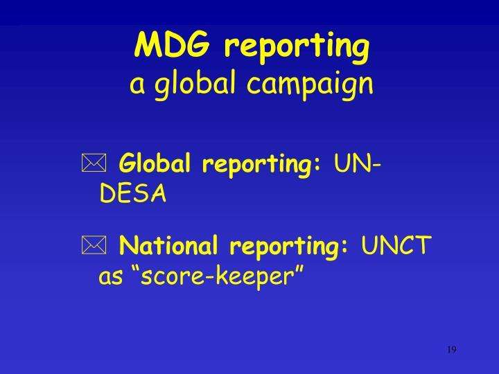 MDG reporting