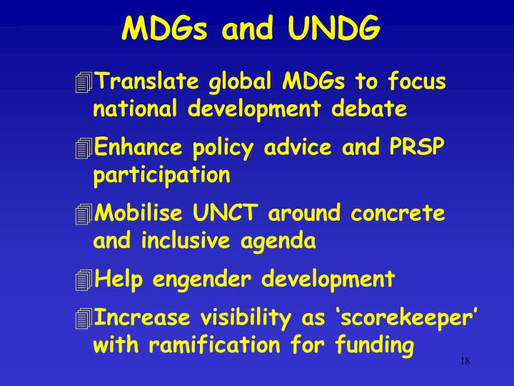 MDGs and UNDG