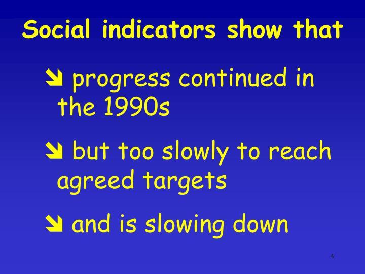 Social indicators show that