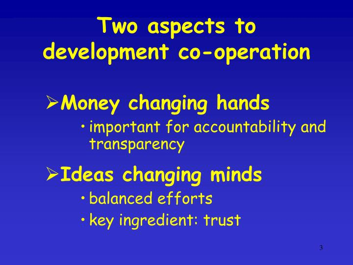 Two aspects to development co-operation