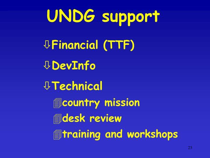 UNDG support