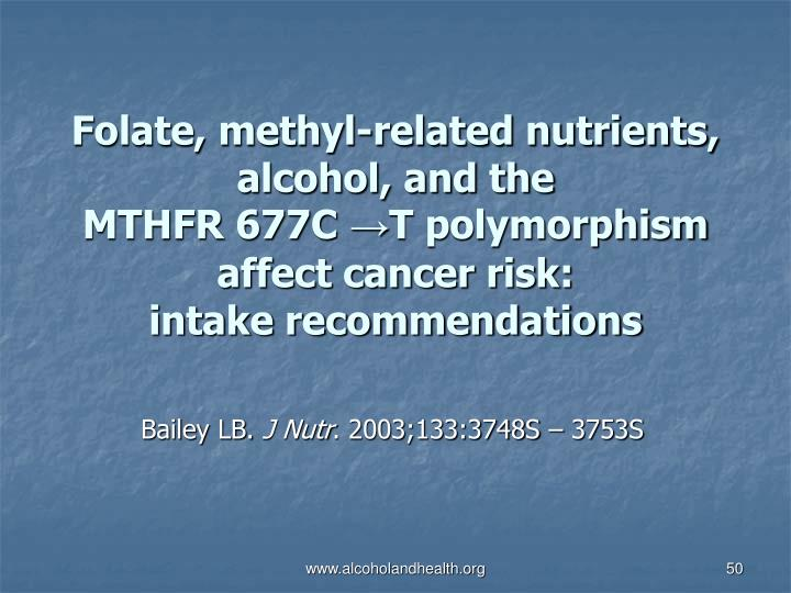 Folate, methyl-related nutrients, alcohol, and the