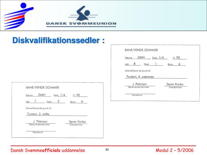 Diskvalifikationssedler :