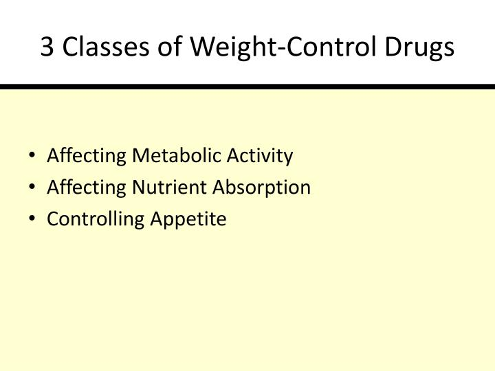 3 Classes of Weight-Control Drugs