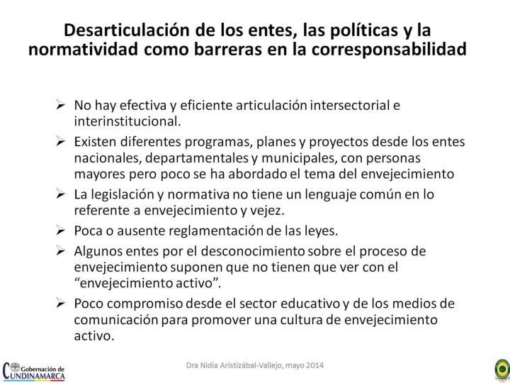 Desarticulación de los entes, las políticas y la normatividad como barreras en la corresponsabilidad