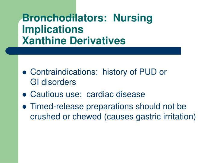 Bronchodilators:  Nursing Implications