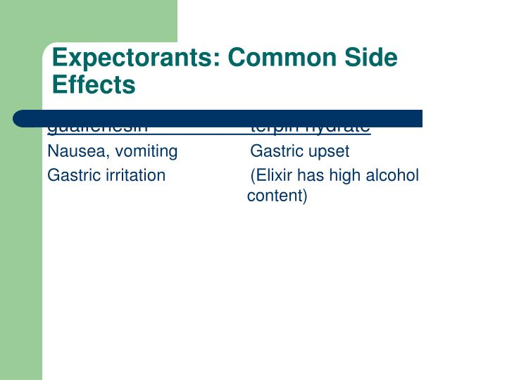 Expectorants: Common Side Effects