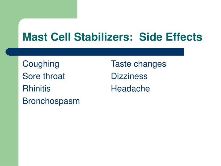 Mast Cell Stabilizers:  Side Effects