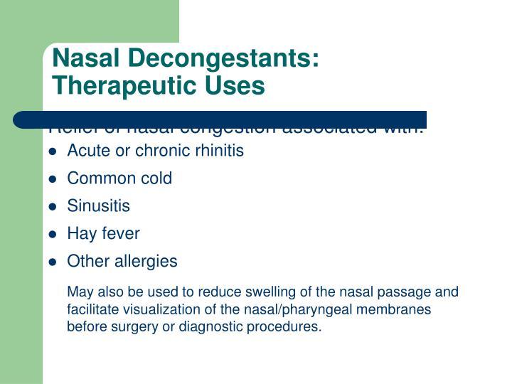 Nasal Decongestants: