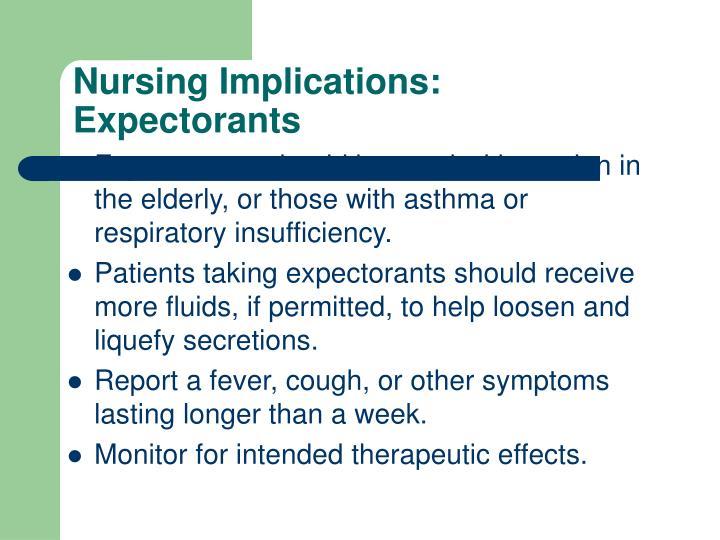 Nursing Implications:  Expectorants