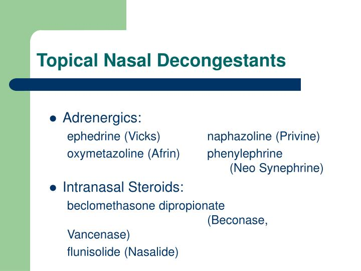 Topical Nasal Decongestants