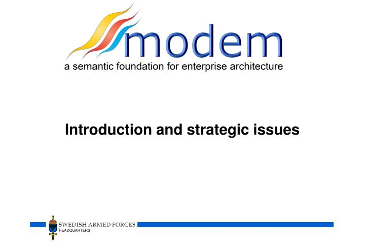 Introduction and strategic issues