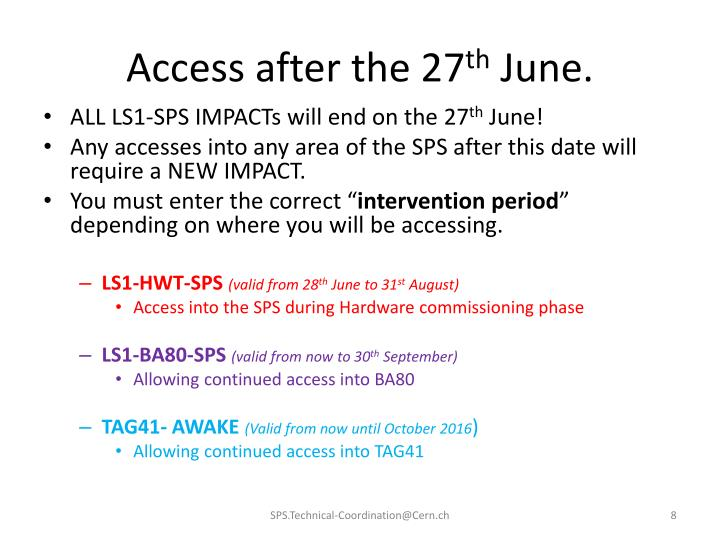 Access after the 27