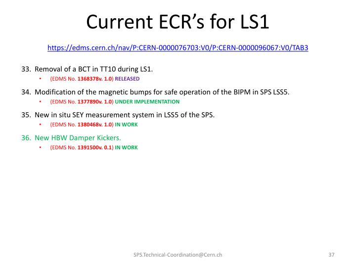 Current ECR's for LS1