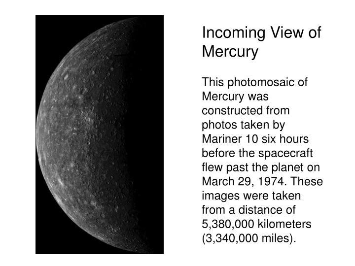 Incoming View of Mercury