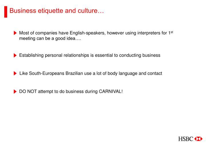 Business etiquette and culture…