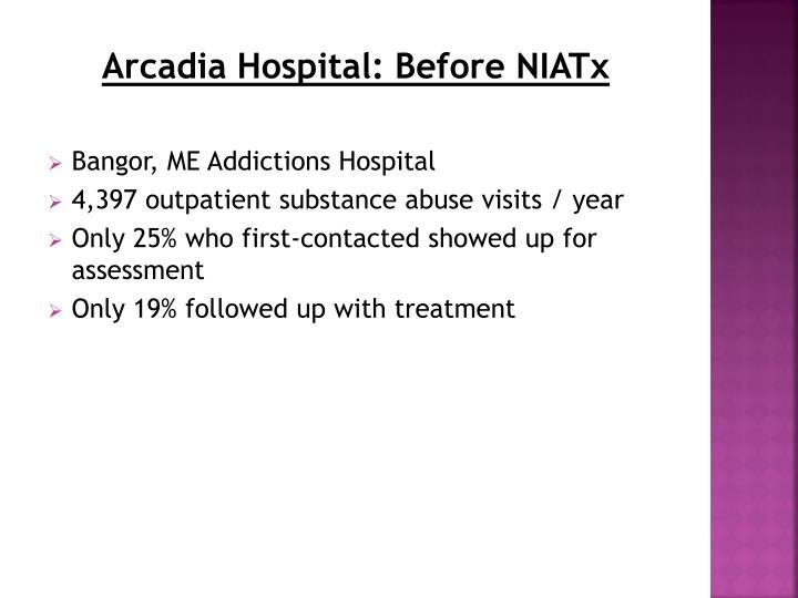 Arcadia Hospital: Before NIATx