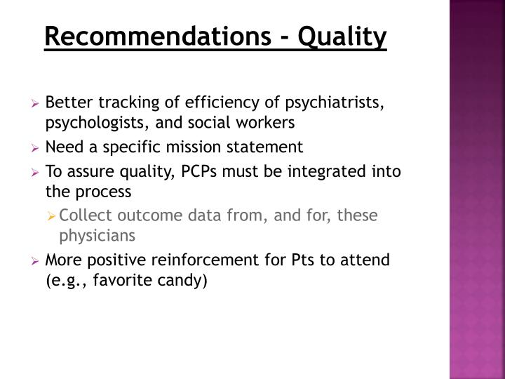 Recommendations - Quality