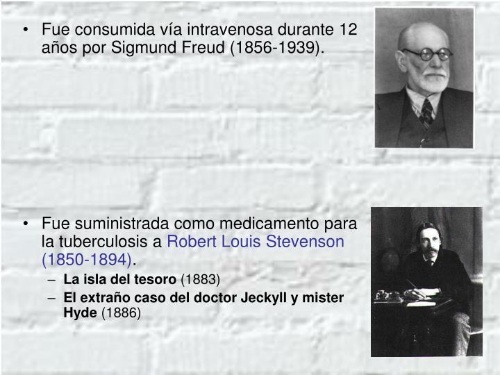 Fue consumida vía intravenosa durante 12 años por Sigmund Freud (1856-1939).