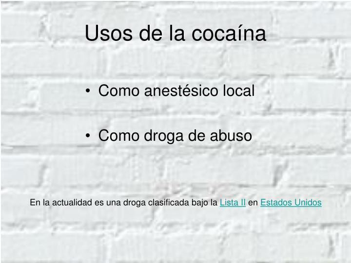Usos de la cocaína