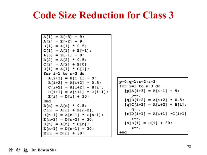 Code Size Reduction for Class 3