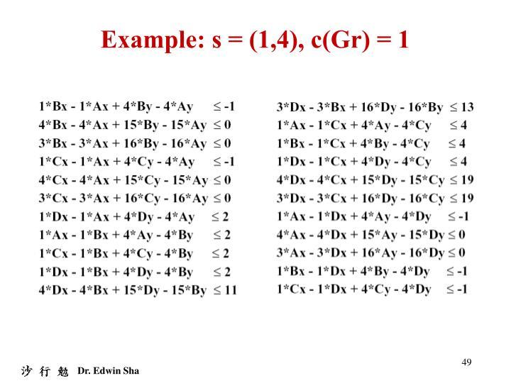 Example: s = (1,4), c(Gr) = 1