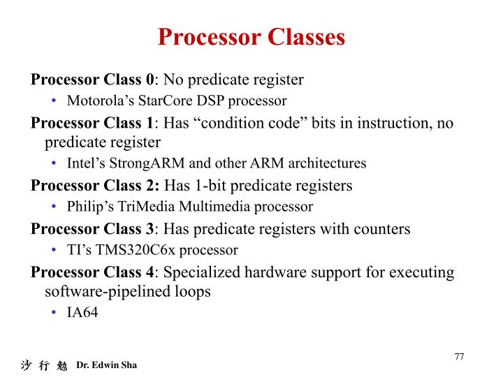 Processor Classes
