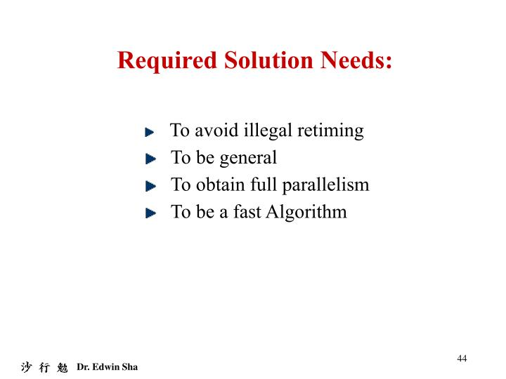 Required Solution Needs: