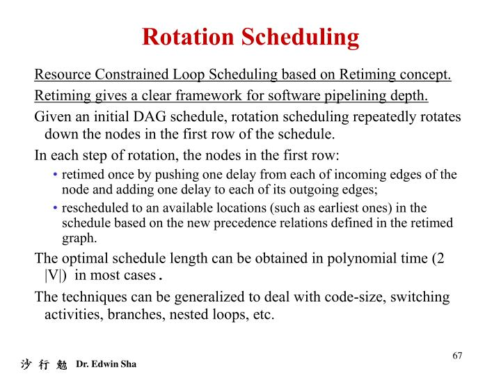 Rotation Scheduling