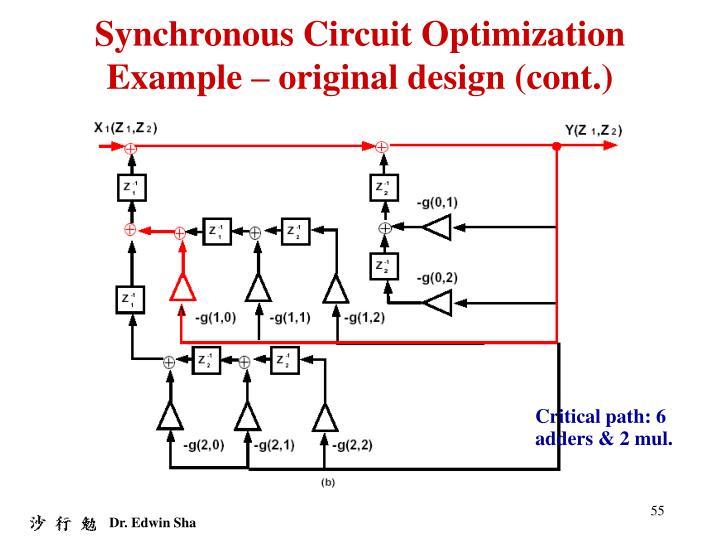 Synchronous Circuit Optimization Example – original design (cont.)