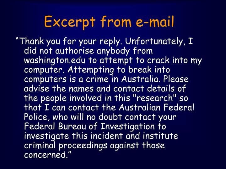 Excerpt from e-mail