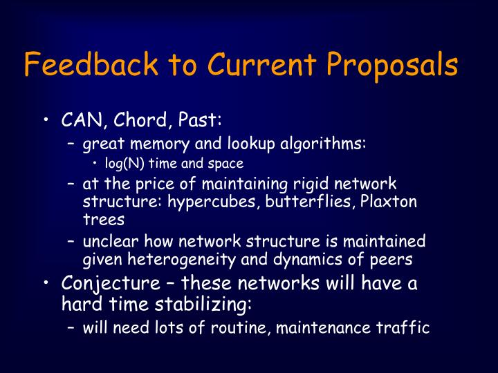 Feedback to Current Proposals