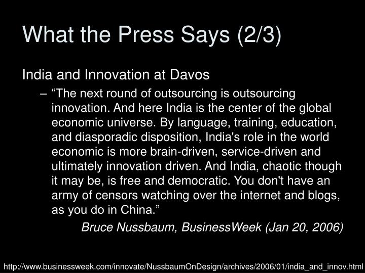 What the Press Says (2/3)